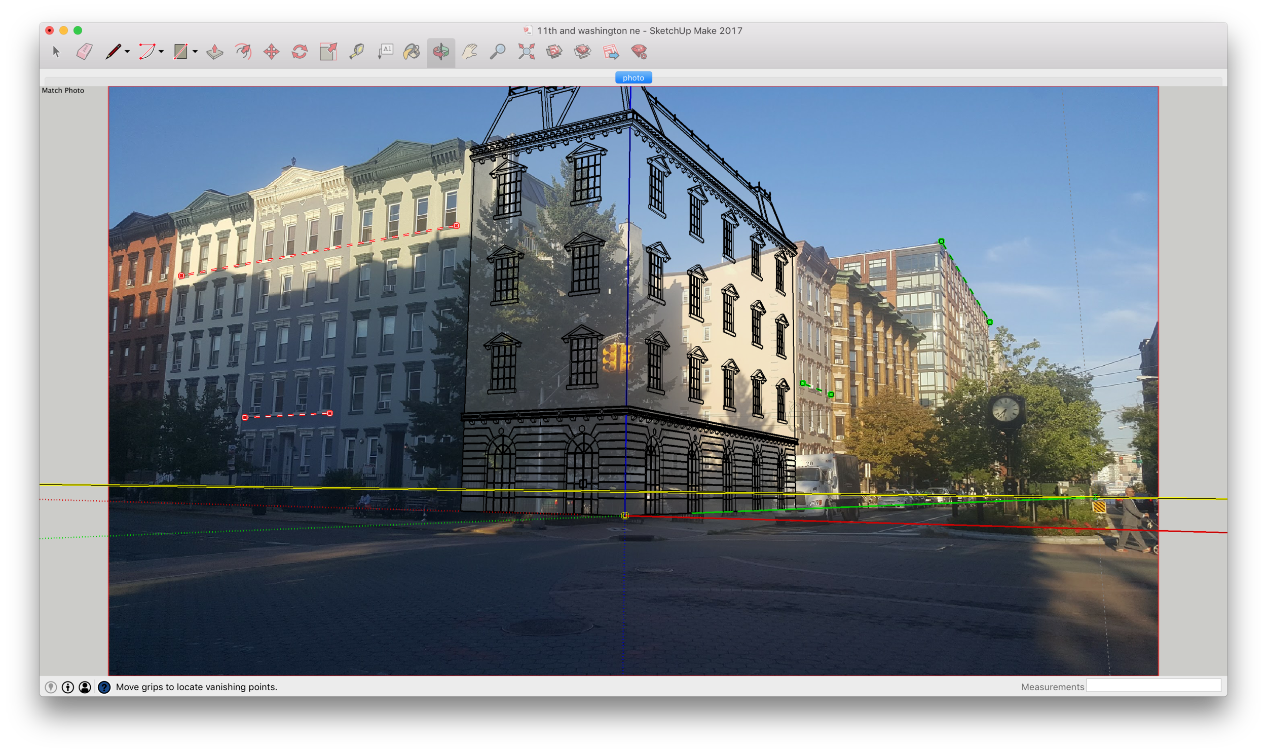 Aligning my model with the photo. Notice the red and green reference lines.