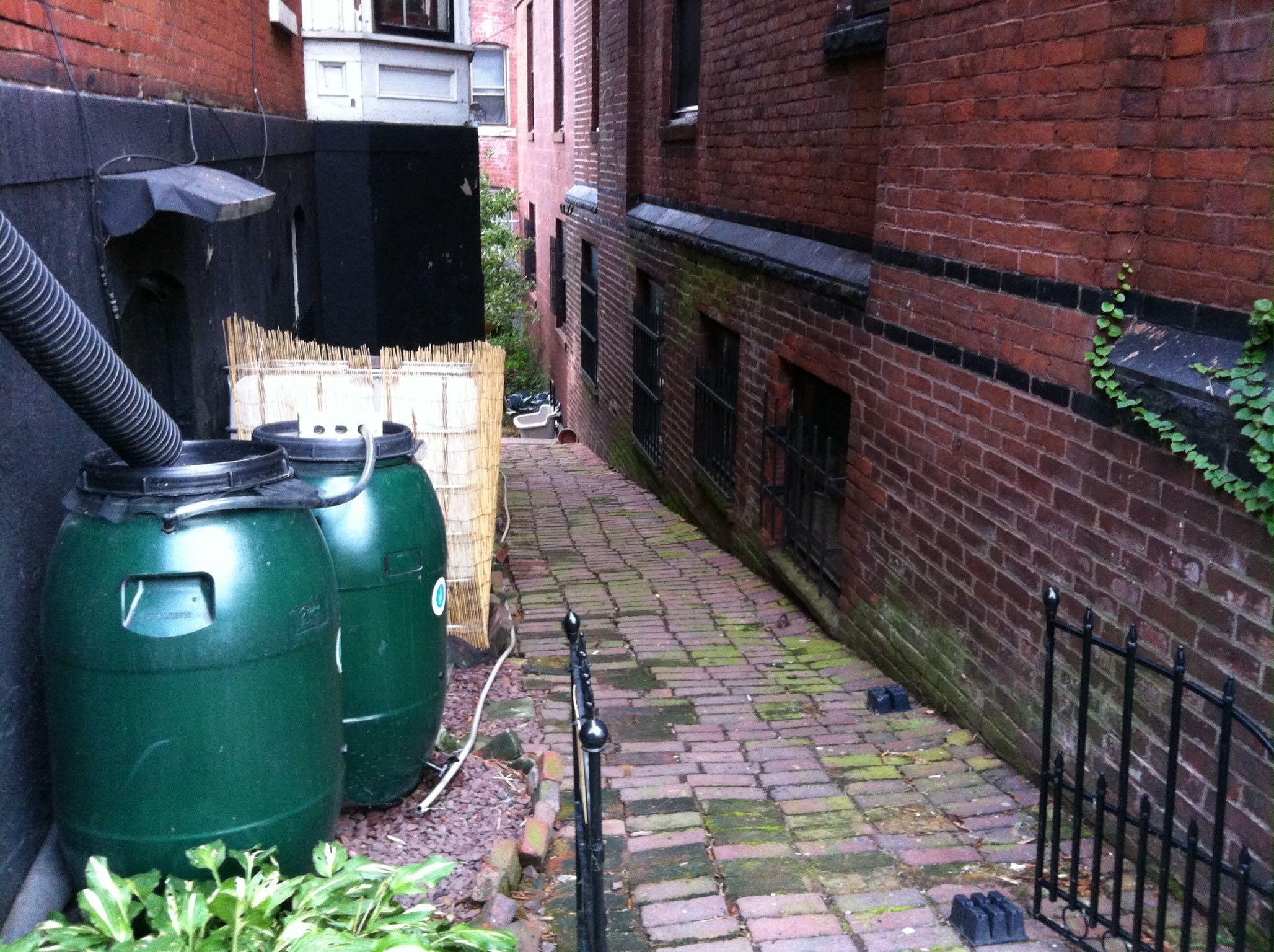 Rain water barrels on the side of Steve's house (Source: Steve Shultis)