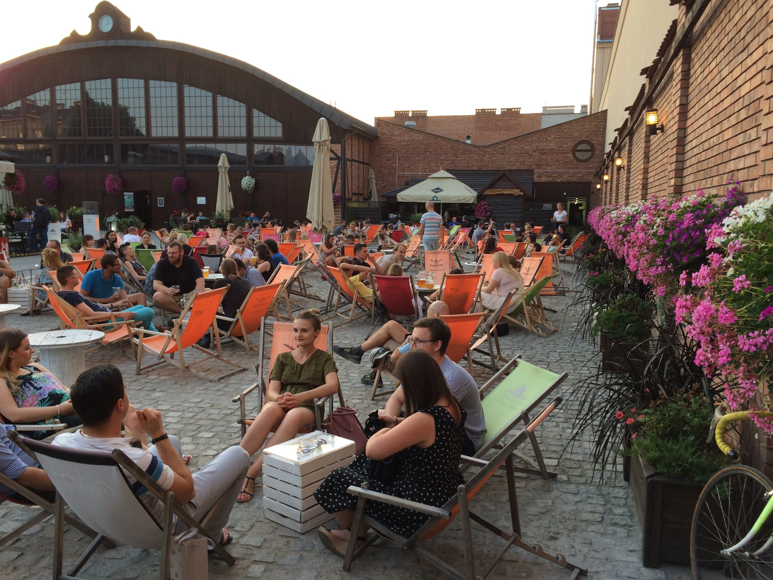 Deck chairs (and planters!) in Krakow, Poland (Photo by Sarah Kobos)