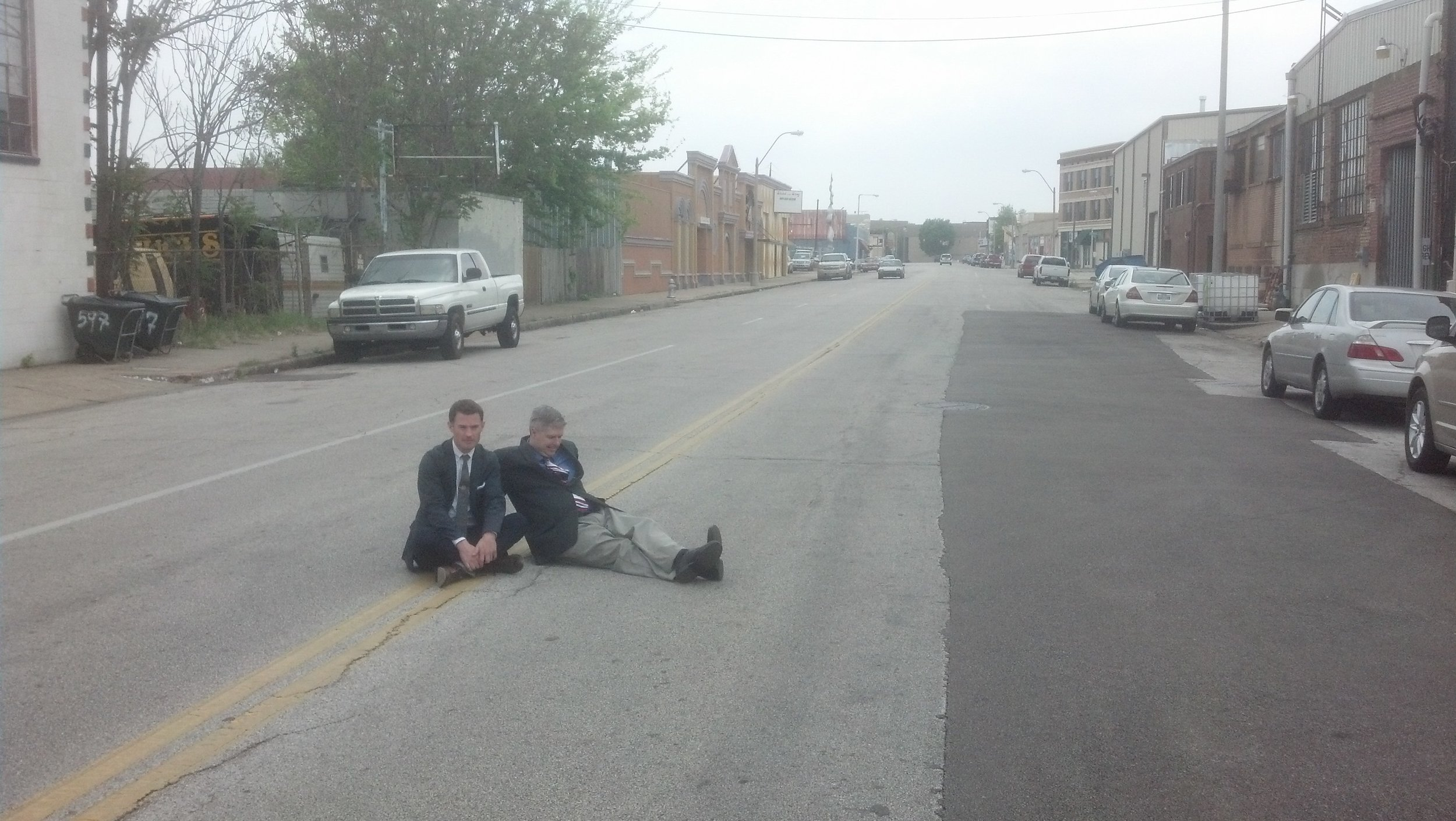 Mike and I taking a break in Memphis.