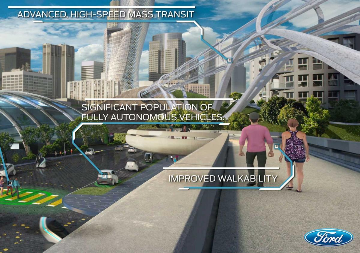 Ford's vision of where people will enjoy walking with AVs.