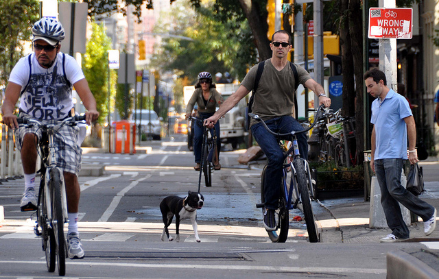 A protected bike lane in New York (Source: Bike Federation of Wisconsin)
