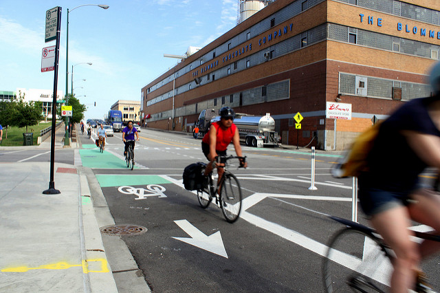 A protected bike lane in Chicago (Source: Josh Koonce )