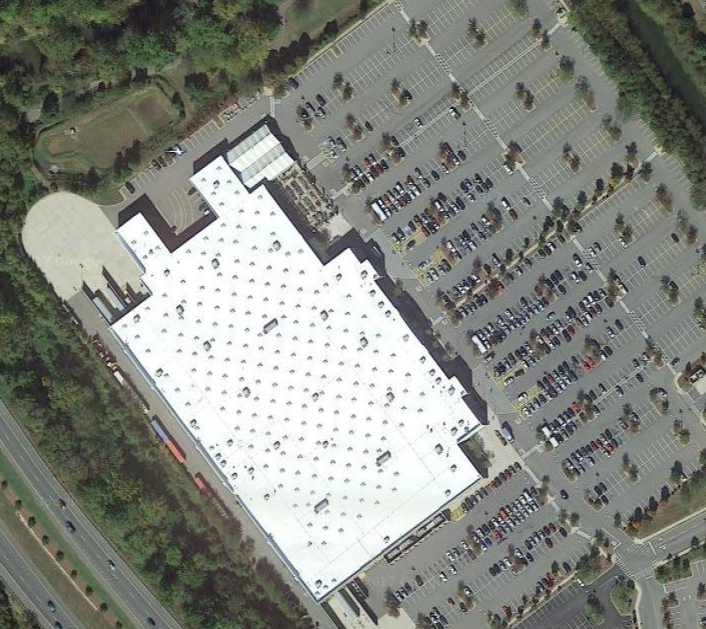 A Walmart and surrounding parking lot near Asheville (Source: Google Maps)