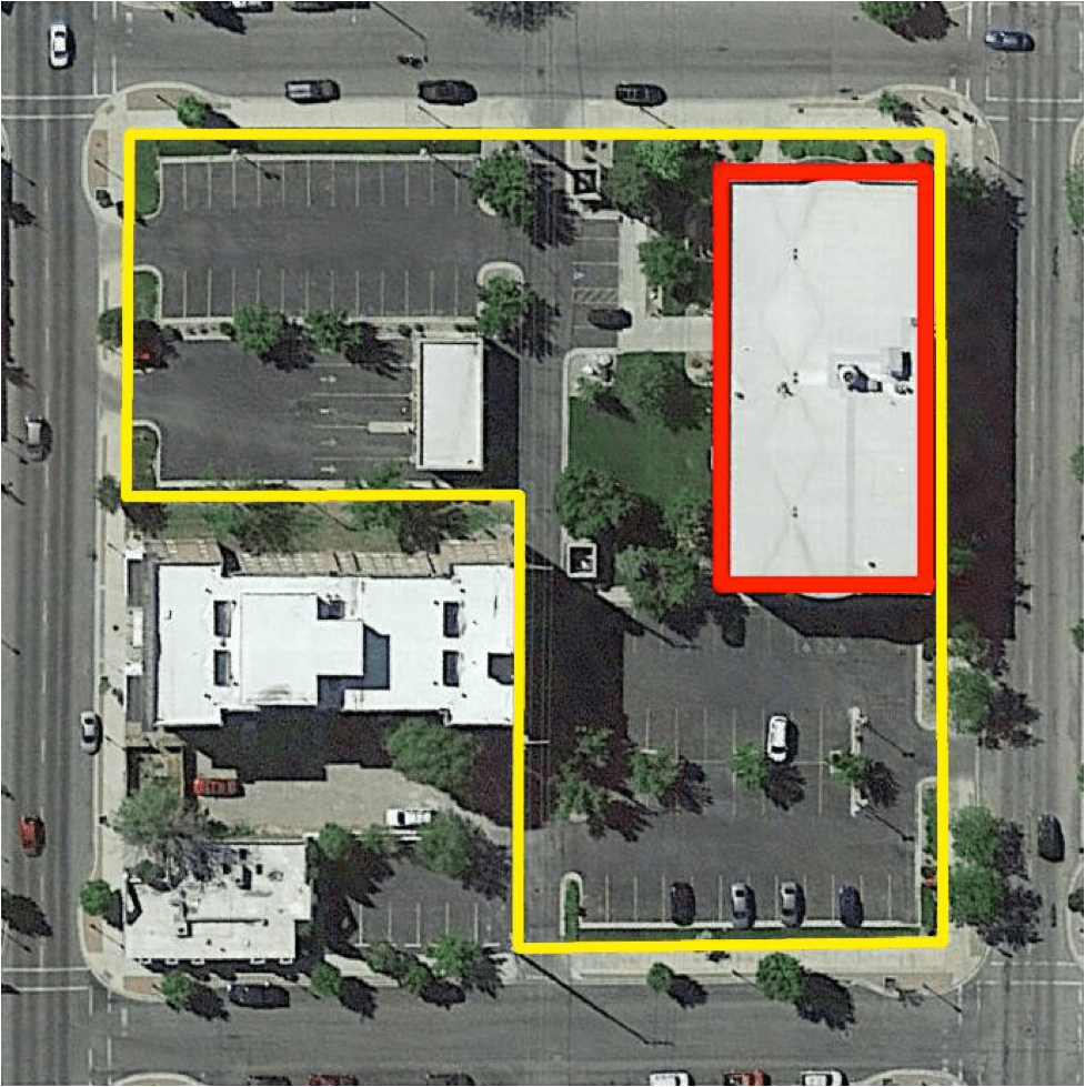 Google aerial showing Wells Fargo building (red) and total site area (yellow)