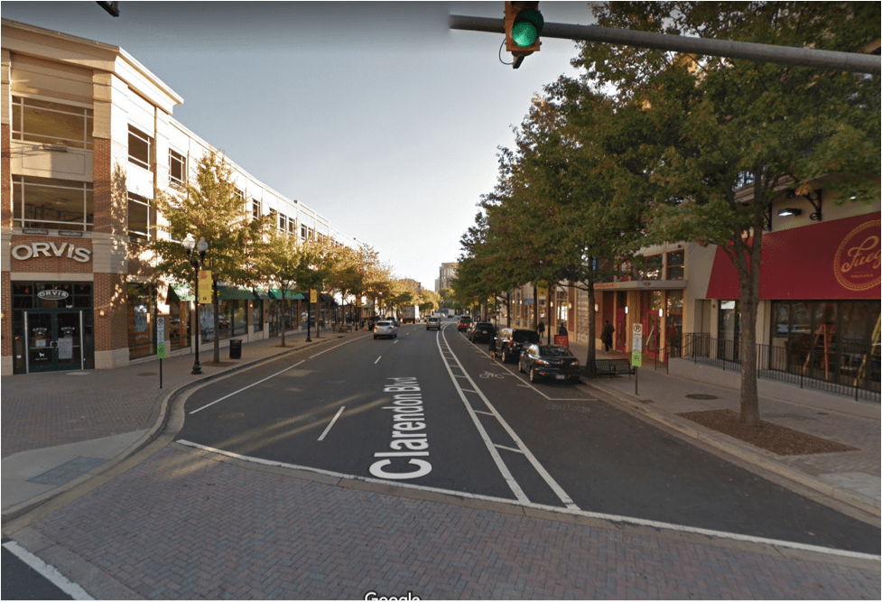 Forty years ago, Clarendon Boulevard in Arlington Virginia was a typical sprawl corridor. Today it's a beautiful urban corridor and a valuable source of housing. (Source: Google Maps)