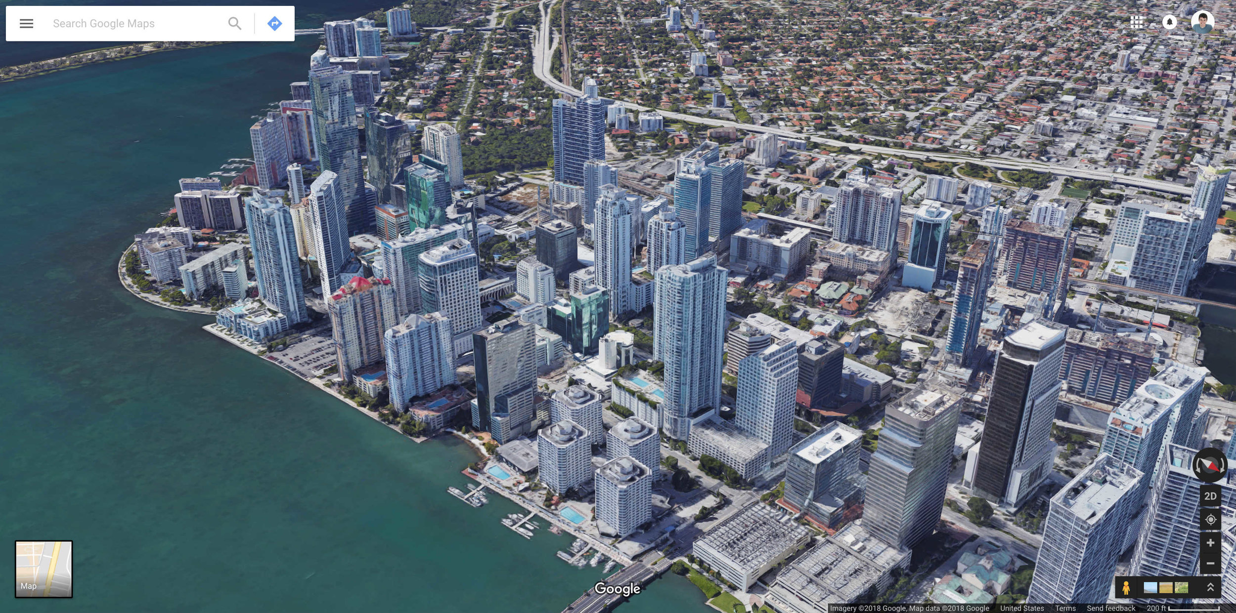 Aerial view of Brickell.