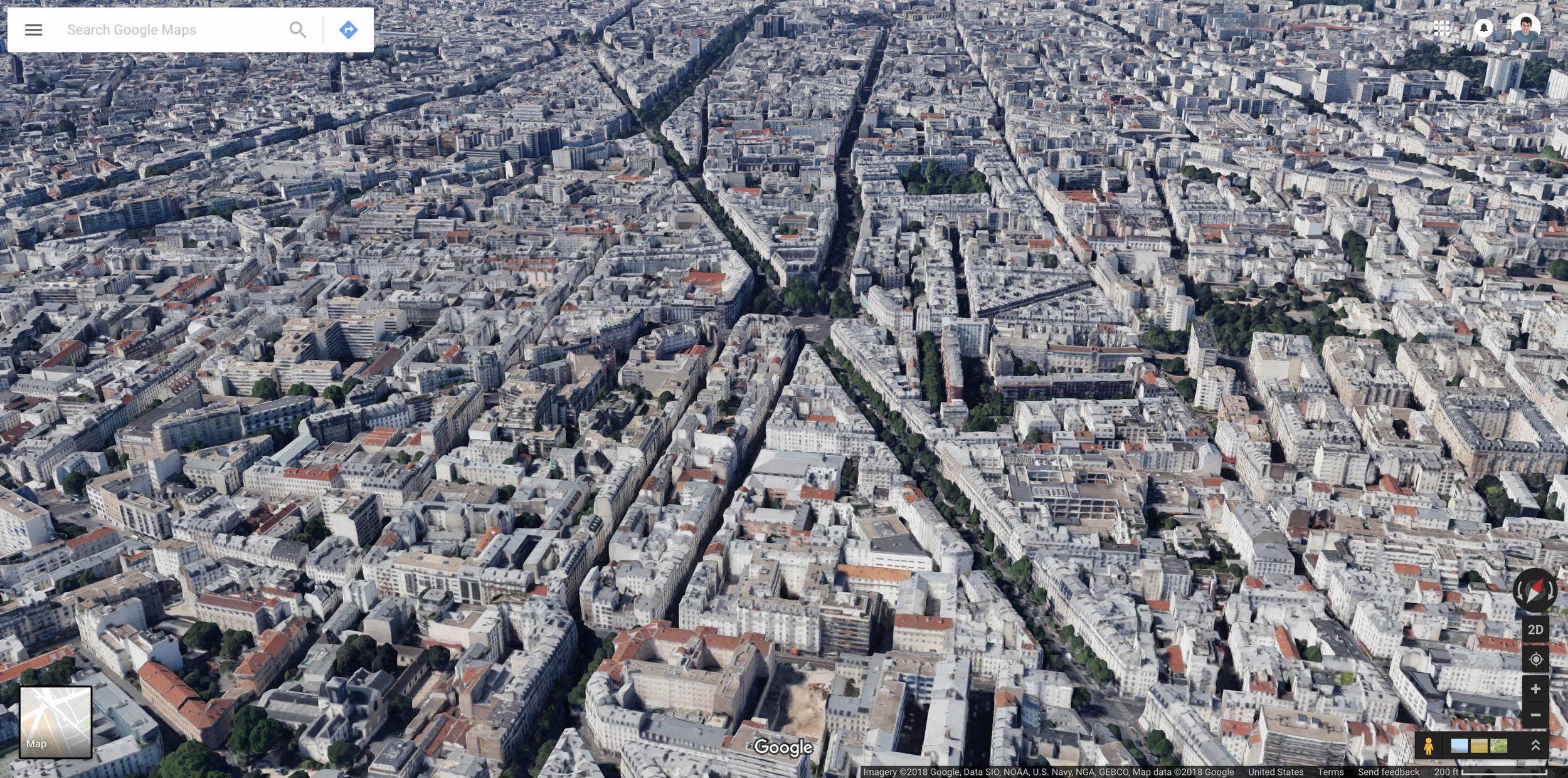Aerial view of the 11th arrondissement of Paris