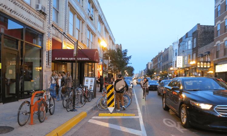 Milwaukee Avenue, in the Wicker Park neighborhood of Chicago (Source: Lindsay Bailey)