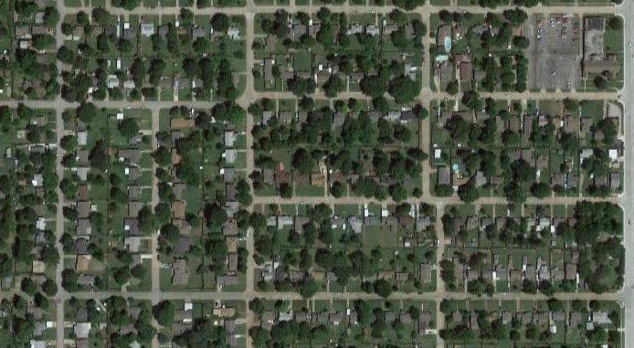 A compact street grid is typical of older, walkable neighborhoods. (Source: Google Maps)