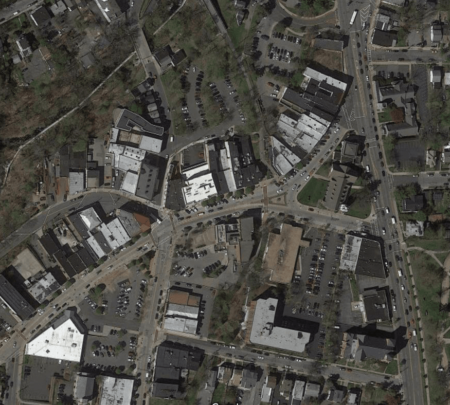 Albany Post Road aka Route 9 is the large 4-lane road running north-south on the right side of the image. Main Street is the commercial street running diagonally.(Source: Google Maps)
