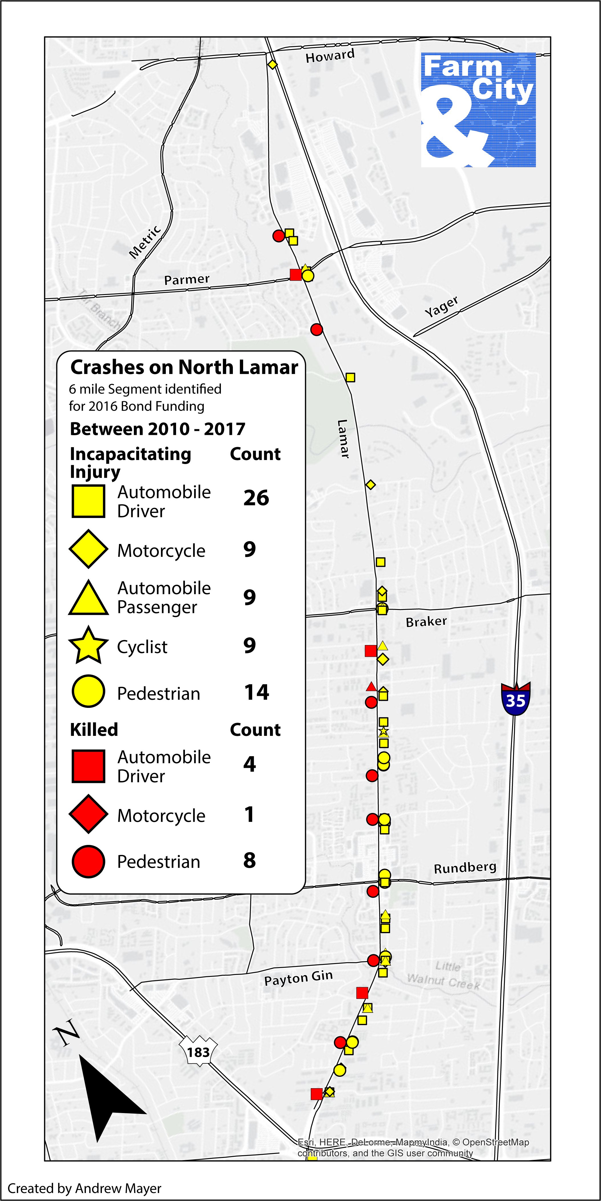Click to view larger. (Map by: Farm&City. Data source:  TXDOT CRIS Database .)