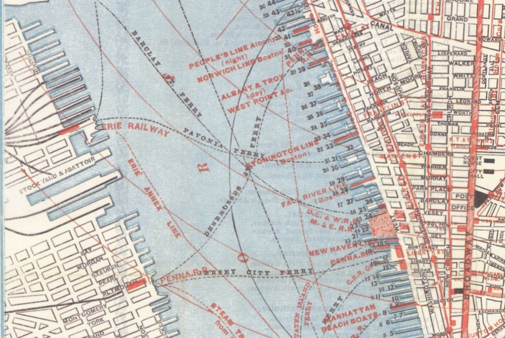 Ferry routes across a section of the Hudson River in 1879. (Source: Wikipedia)