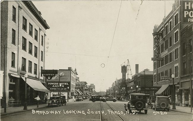 Broadway, 1929 (Source: City of Fargo)