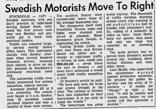 News report from Tuesday, September 5, 1967, two days after Dagen H.