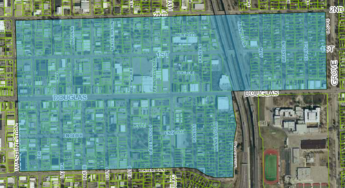 The Douglas Streetscape impact area comprises over 1,000 parcels on 312 acres; most of the area is zoned CBD, which allows for high-intensity development, resulting in a high ceiling for productivity