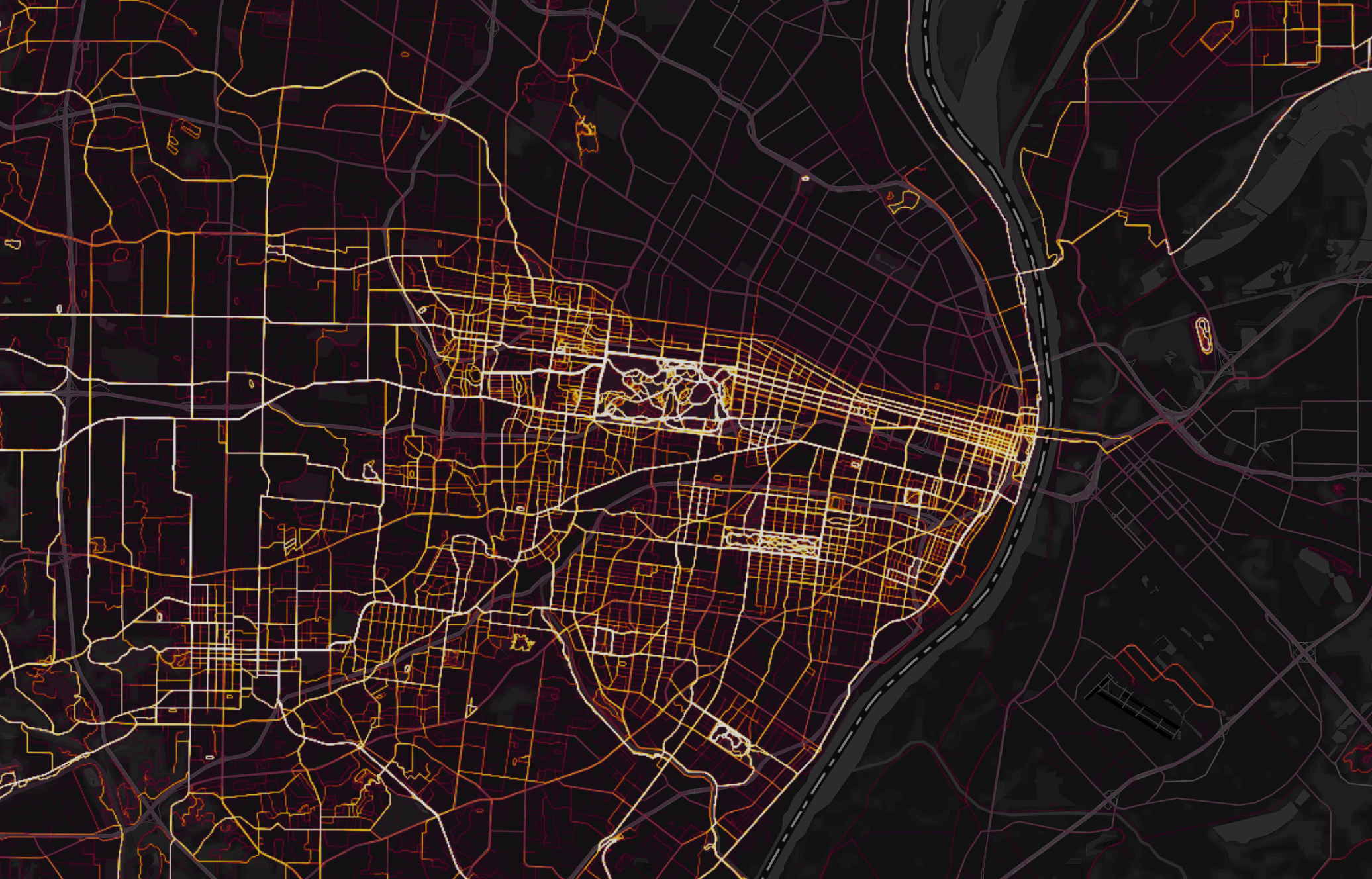 The Strava heat map of St. Louis.