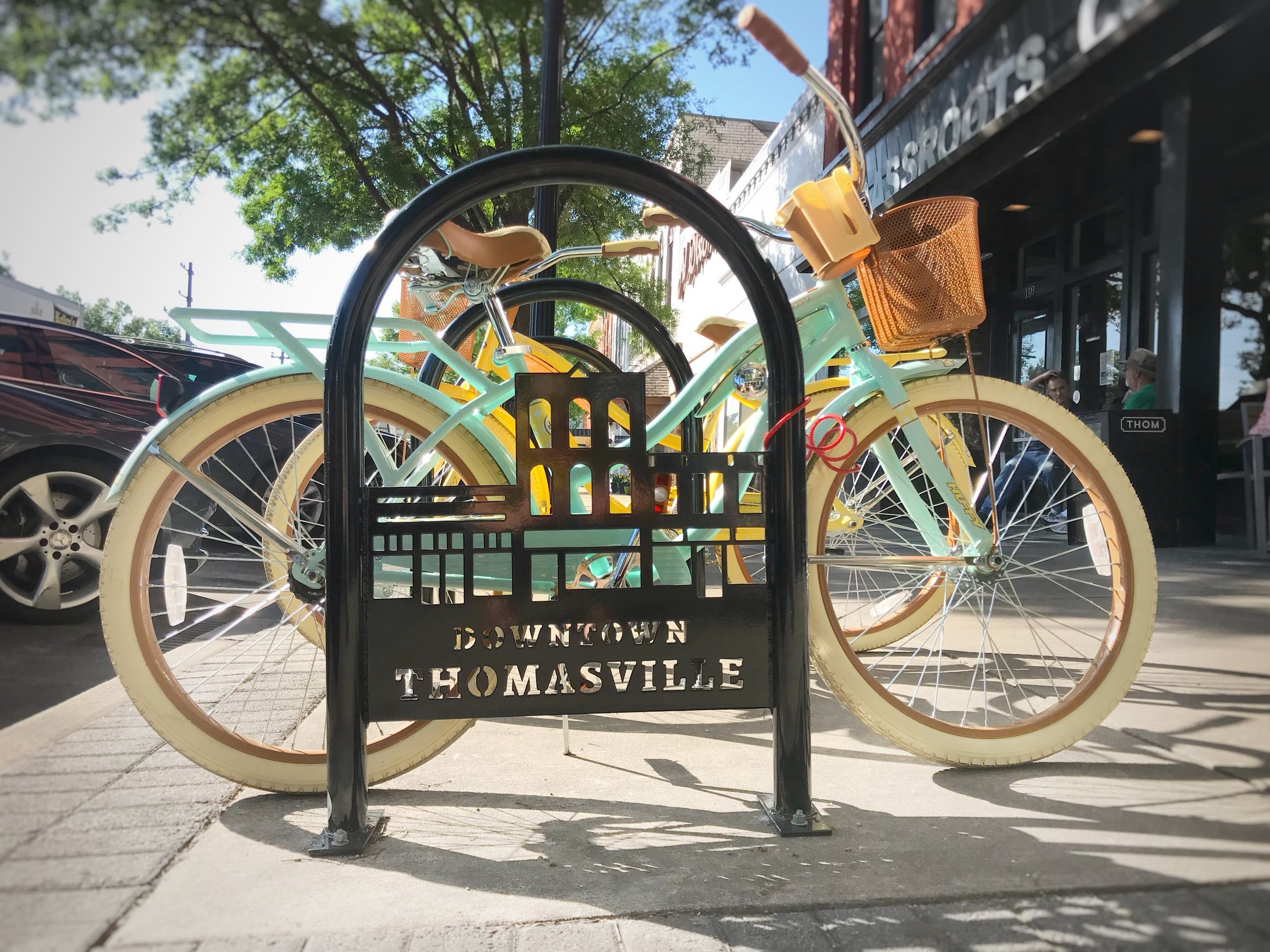 Thomasville's bike racks are designed for maximum functionality, while also including a bit of branding and fun.