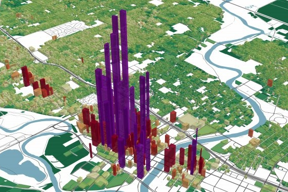 You don't have to live among skyscrapers in Manhattan to feel the impacts of walkable, mixed-use neighborhoods. The above image shows the tax value per acre of land in Des Moines, Iowa, with taller plots indicating higher value. Downtown Des Moines can easily be recognized by the cluster of tall purple peaks on this map, yet it has little more than a dozen buildings over 15 stories tall. (Source: Urban3).