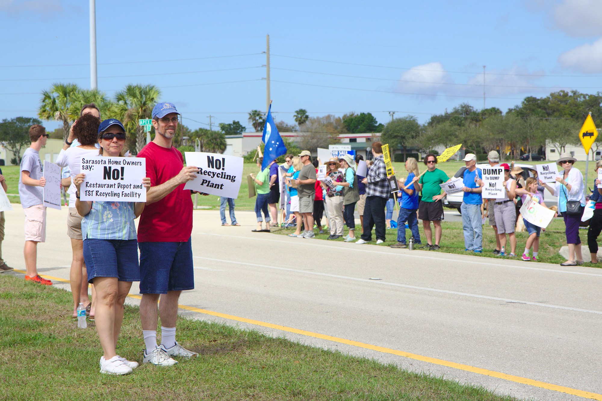 Residents protest a new recycling facility near the Celery Fields bird site (Source:  Save the Celery Fields )