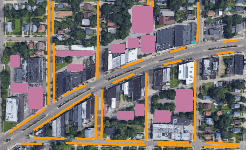 Akron's Kenmore Blvd, with available street parking marked in orange and off-street parking marked in pink. (Created by Rachel Quednau with Google Maps image)