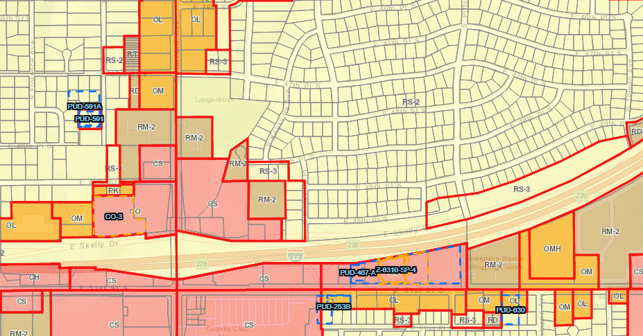 A typical zoning map