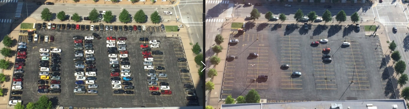Office parking lot: 10:21 a.m. and 6:15 p.m. (Photos by Sarah Kobos)