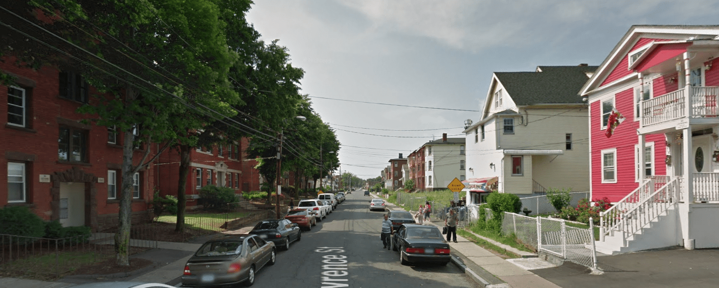 A typical narrow, people-centered residential street in Hartford, CT