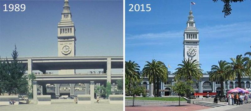 San Francisco's Ferry Building, before and after the Embarcadero Freeway was torn down