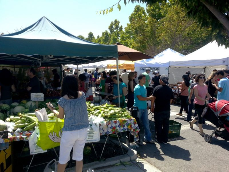 A parking lot becomes a farmers market in Mountain View.