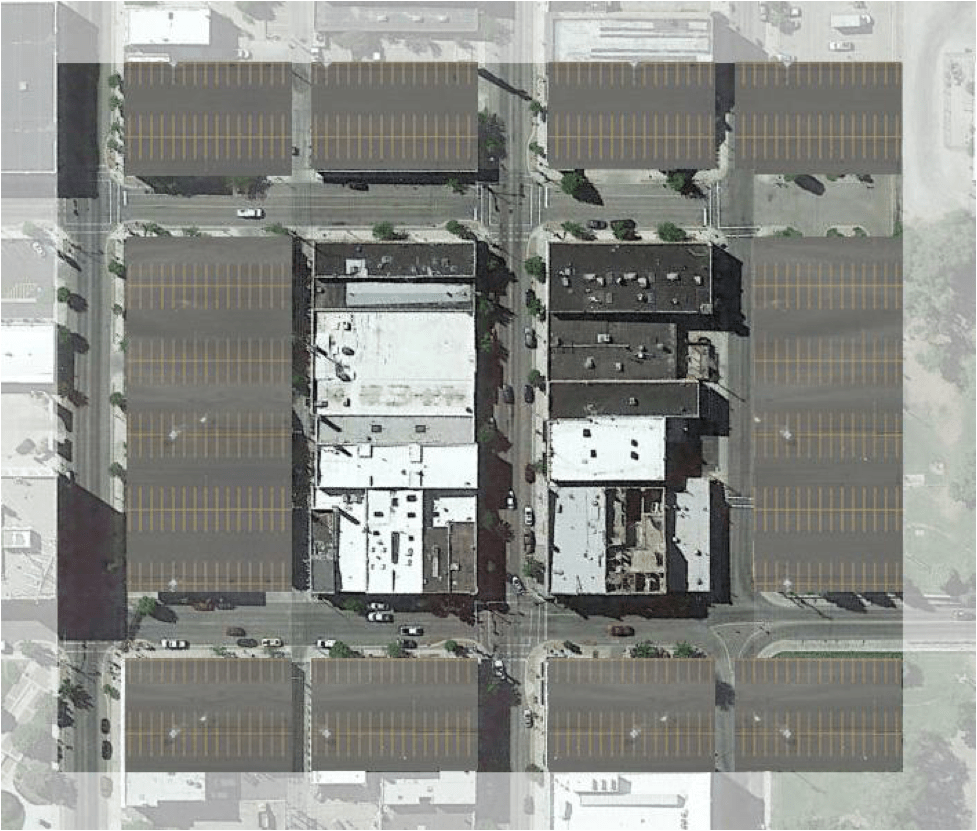 This is what one block of charming Old Town Pocatello, Idaho would look like if it had to follow modern day parking requirements.  See more examples here.