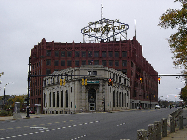 Goodyear headquarters, Akron. Source: harry_nl via Flickr. Creative Commons license.