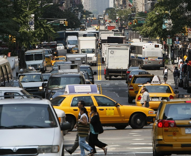 Even in Manhattan, cars take up a lot of the available public space. Source: Wikimedia Commons
