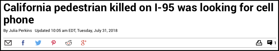 Typical pedestrian-blaming in a headline (Source:  CT Post )