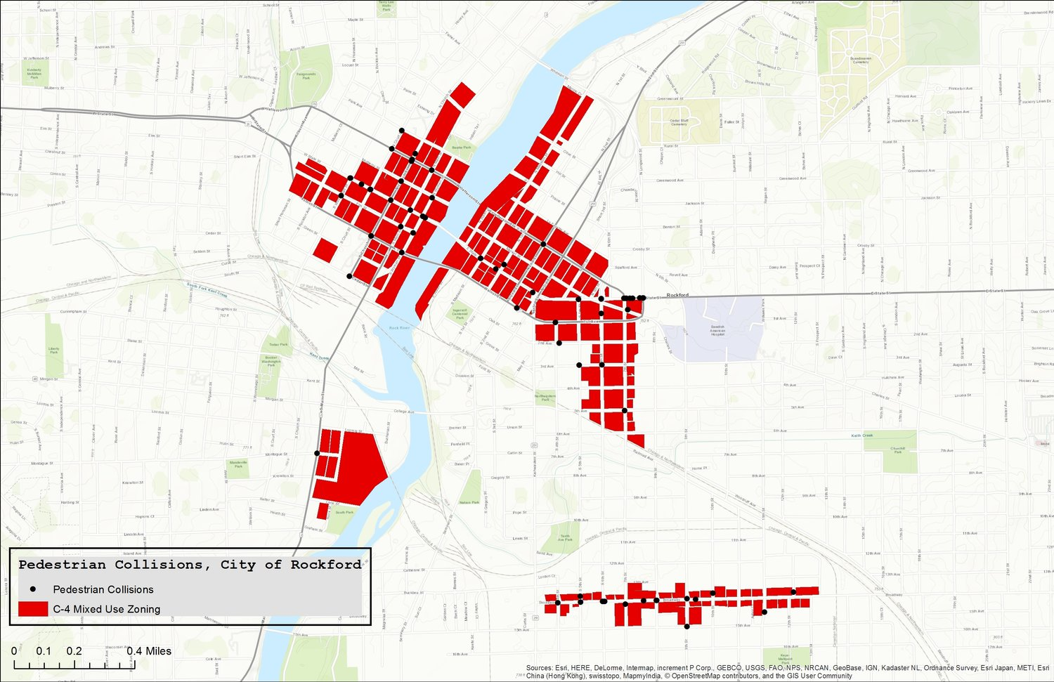 Pedestrian collisions in areas with mixed-use zoning in Rockford, Illinois.