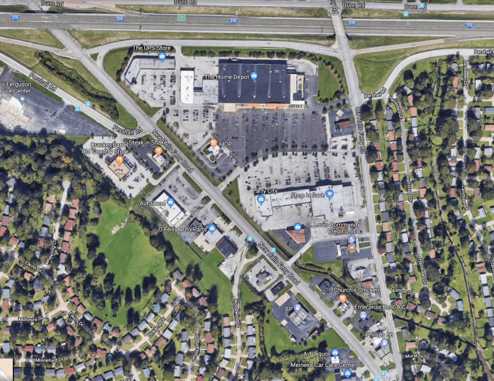 This auto-oriented shopping center on the edge of town was funded through TIF. (Source: Google Maps)
