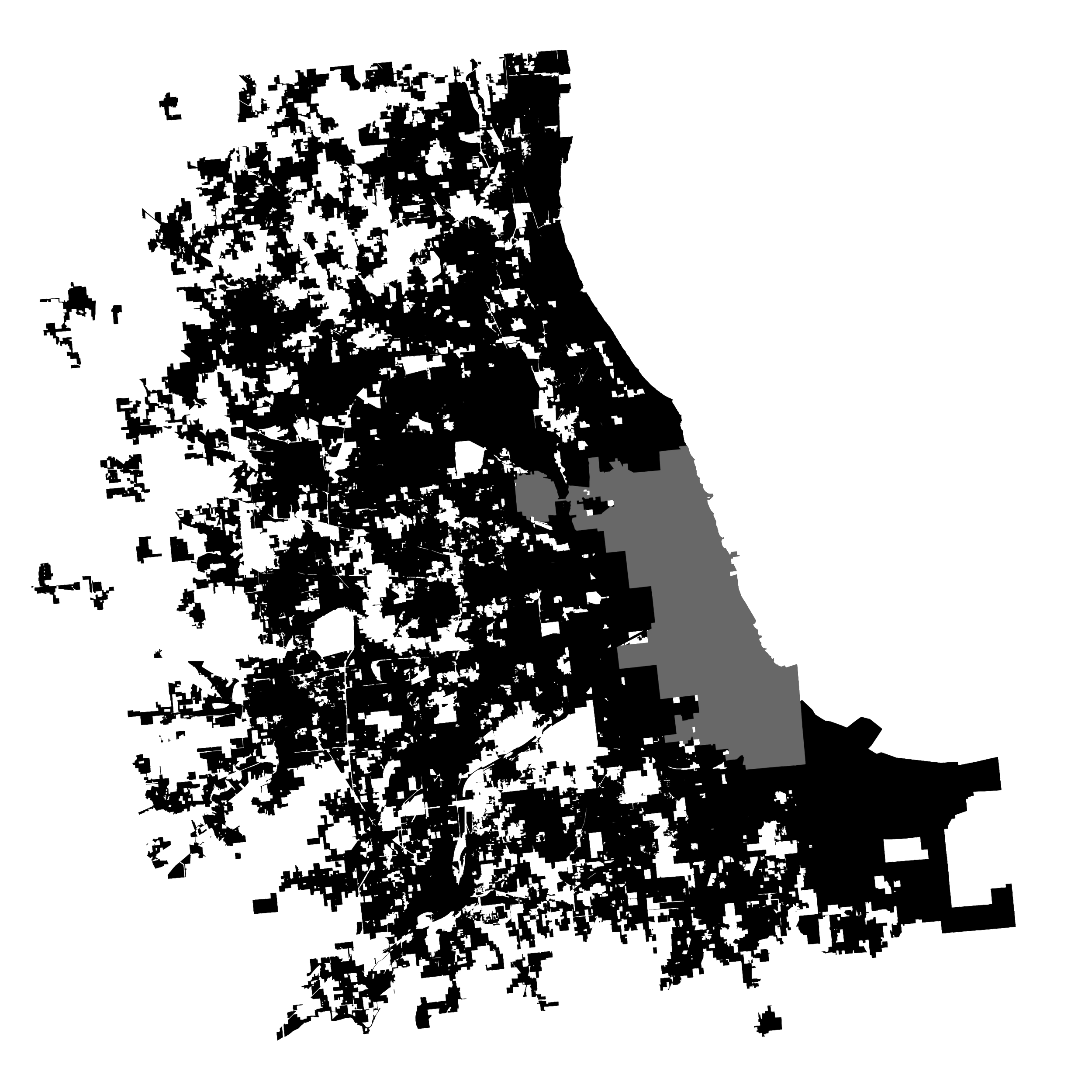 - But the shape of the City of Chicago is only part of the story of the greater Chicago metro area. Adding the surrounding cities into the picture, and you'll see that while Chicago is bounded by its historical limits, the municipalities nearby are under no such restrictions. Some of the most complex city boundaries in the entire country can be found in this area.