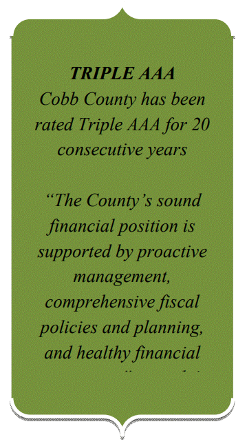 """Cobb County officials use their bond rating as a stamp of approval for their policies, as seen in this blurb from their 2017-2018 Biennial Budget Book. (No comment on the frequent redundant misuse of the phrase """"Triple AAA."""")"""