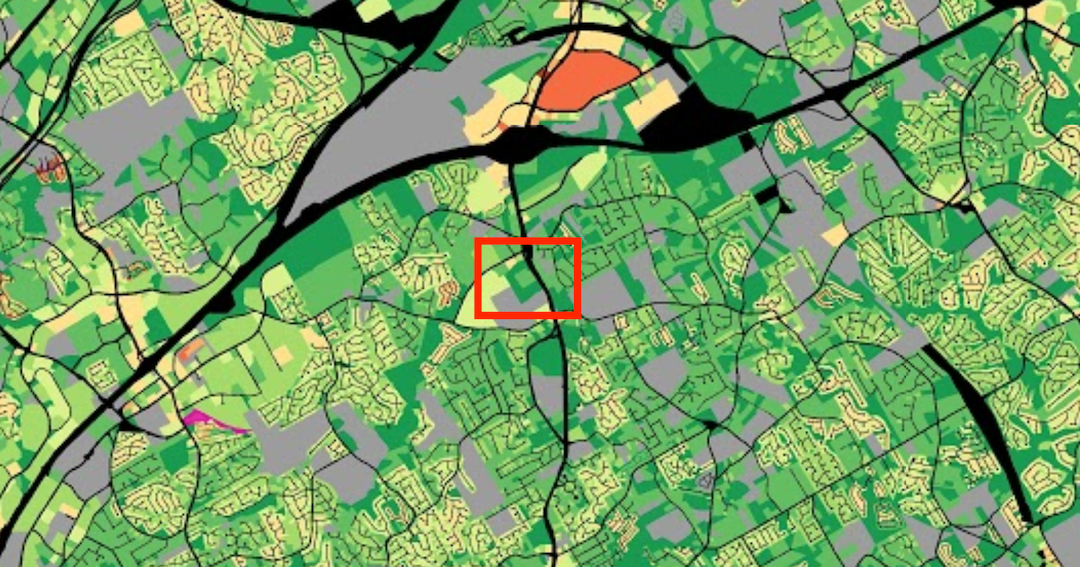 Coolray Field highlighted in a choropleth map visualizing value per acre in Gwinnett County. (Source: Urban3)