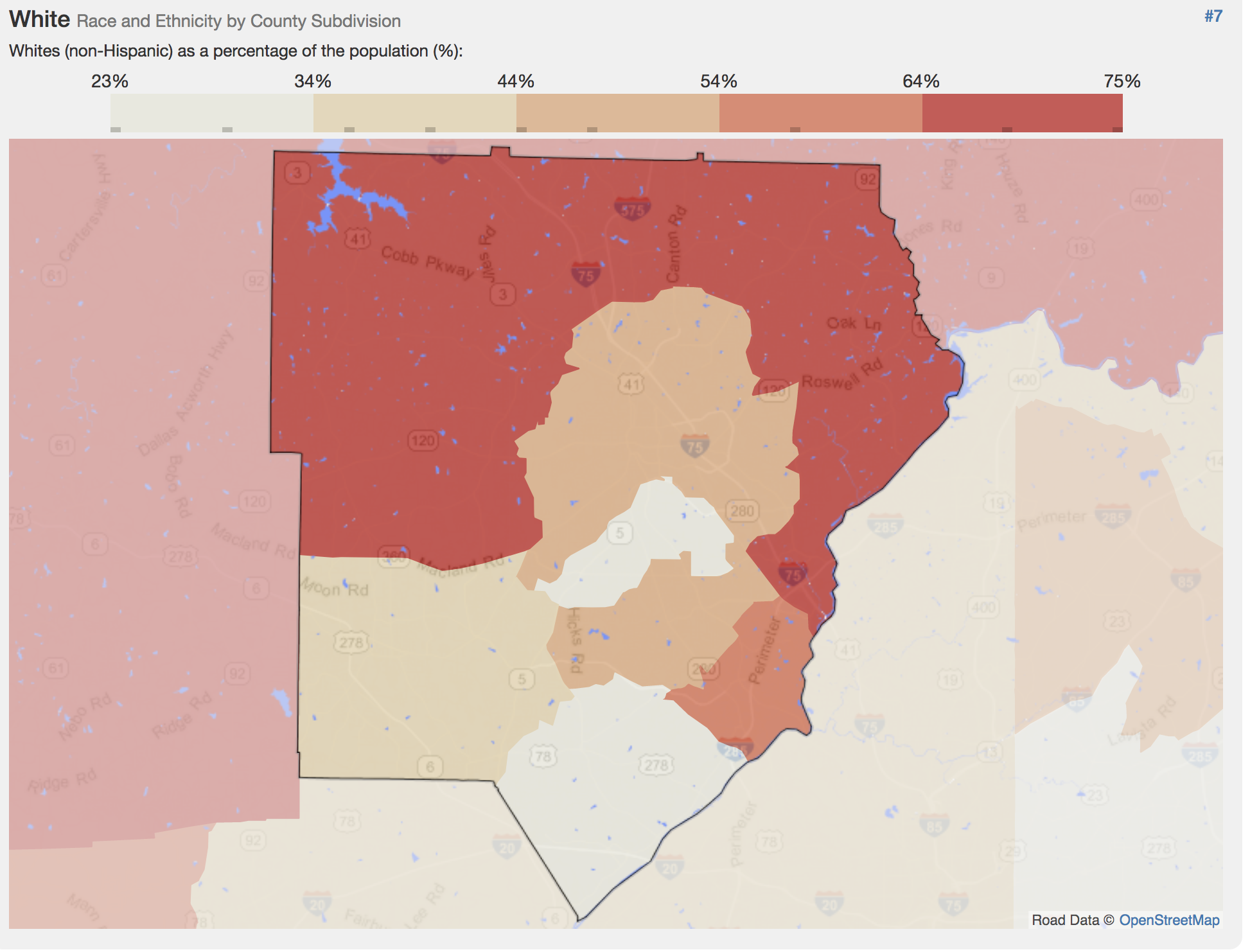 Cobb County's racial demographic breakdown.