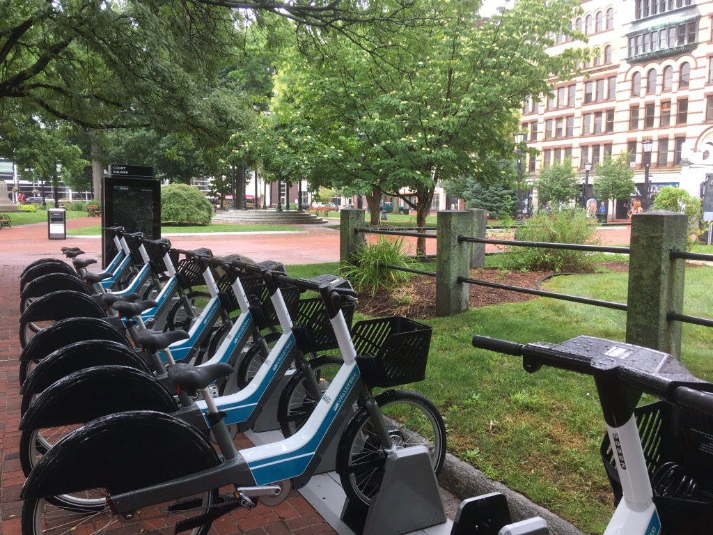 A bike-share station in Springfield. MGM funded improvements to bicycle infrastructure.
