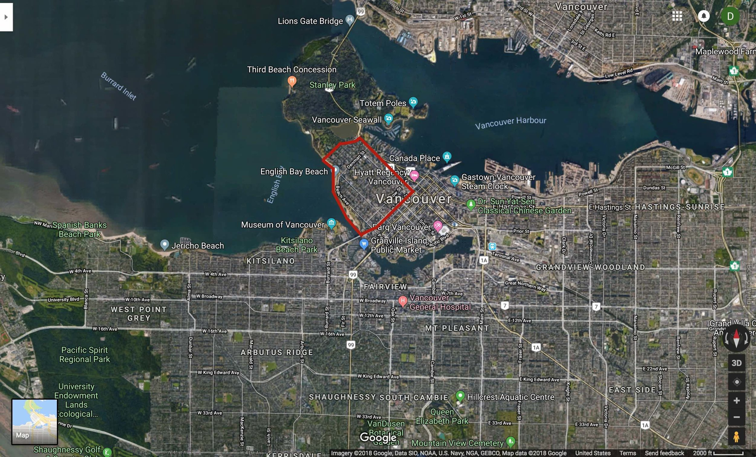 Map of Vancouver with the West End highlighted in red. (Source: Google)