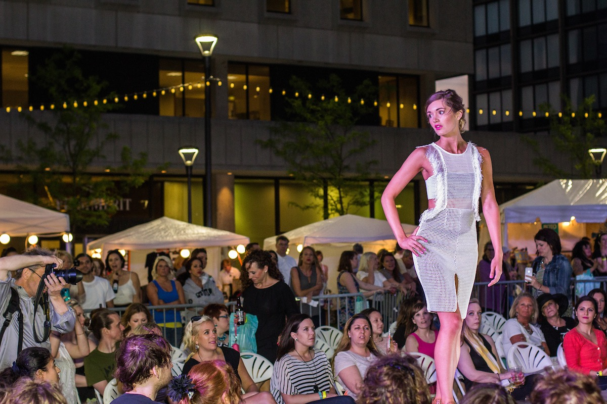 Akron's Cascade Plaza becomes the setting for an outdoor fashion show.