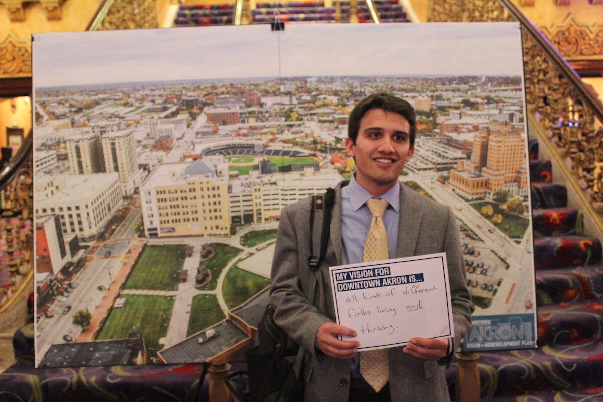 A resident shares his vision for downtown Akron at a public meeting about plans for the area.