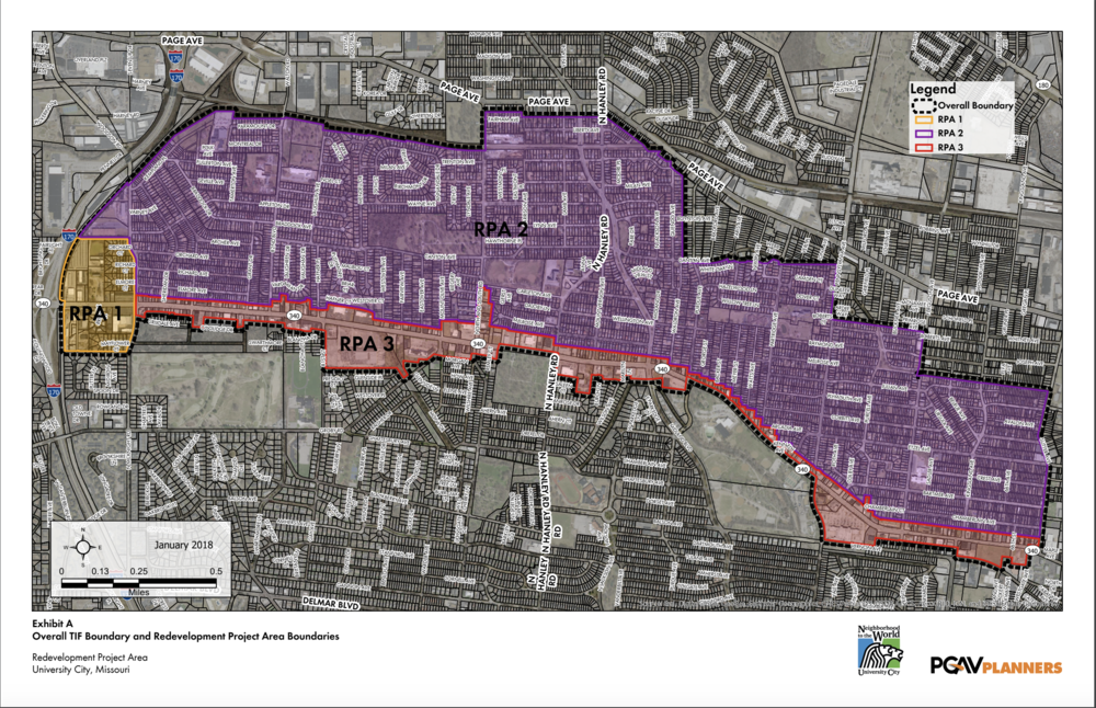 Map of the intended redevelopment area