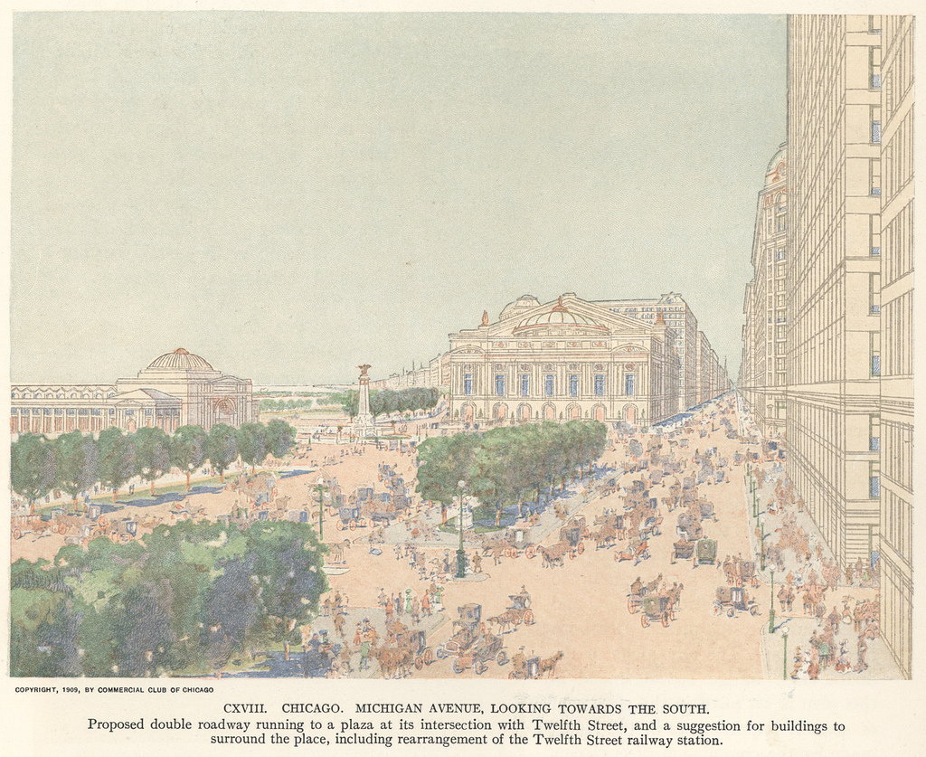 A rendering of Michigan Avenue from Daniel Burnham's 1909 Plan of Chicago. The monumental buildings might have been part of a master plan, but the hustle and bustle of human activity that defines a successful place is better achieved through an iterative process.