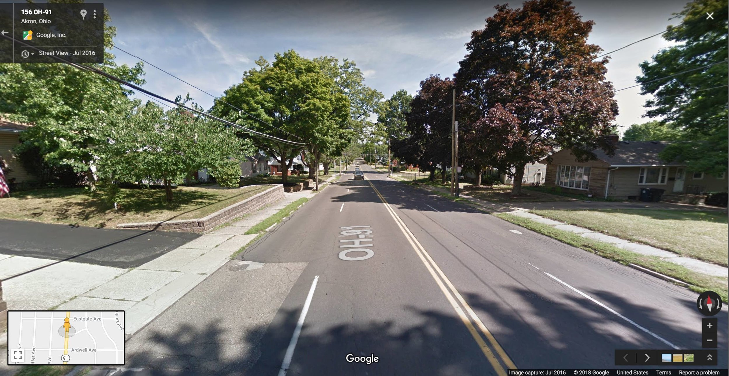 A wide open road like this stretch of Canton Road in Akron has a  design speed  that invites fast driving, even though the residential surroundings mean that people on foot, including children, might be present. (Source: Google)