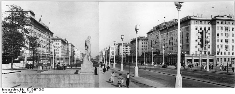 Karl-Marx-Allee (Stalinallee at the time), Berlin, 1953. (Source: German Federal Archives  via Wikipedia )