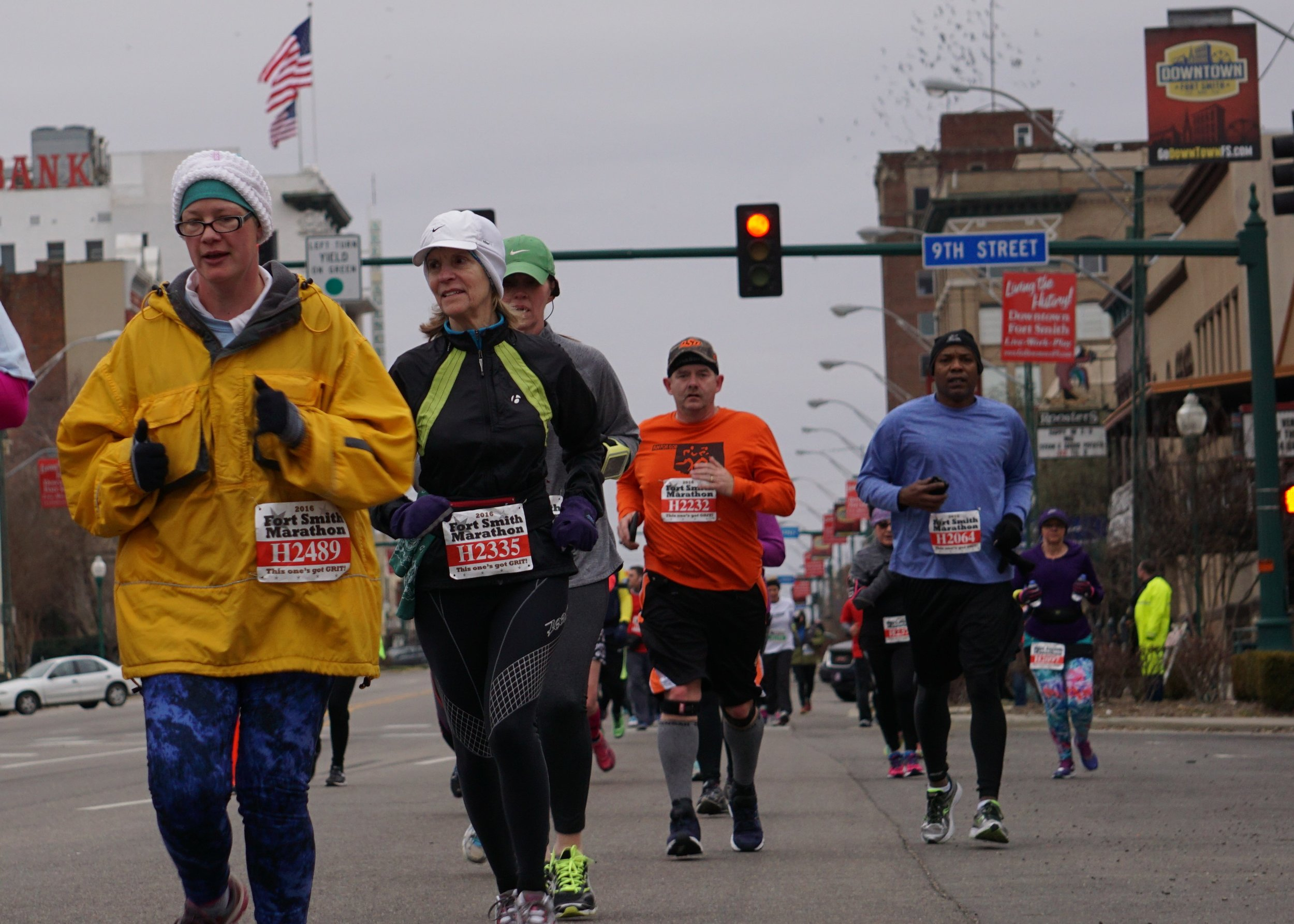 Fort Smith Marathon on downtown's Garrison Avenue, which is also U.S. Highway 64. Wide streets and fast traffic remain a threat to the day-to-day walkability of downtown Fort Smith. (Source: 64.6 Downtown)