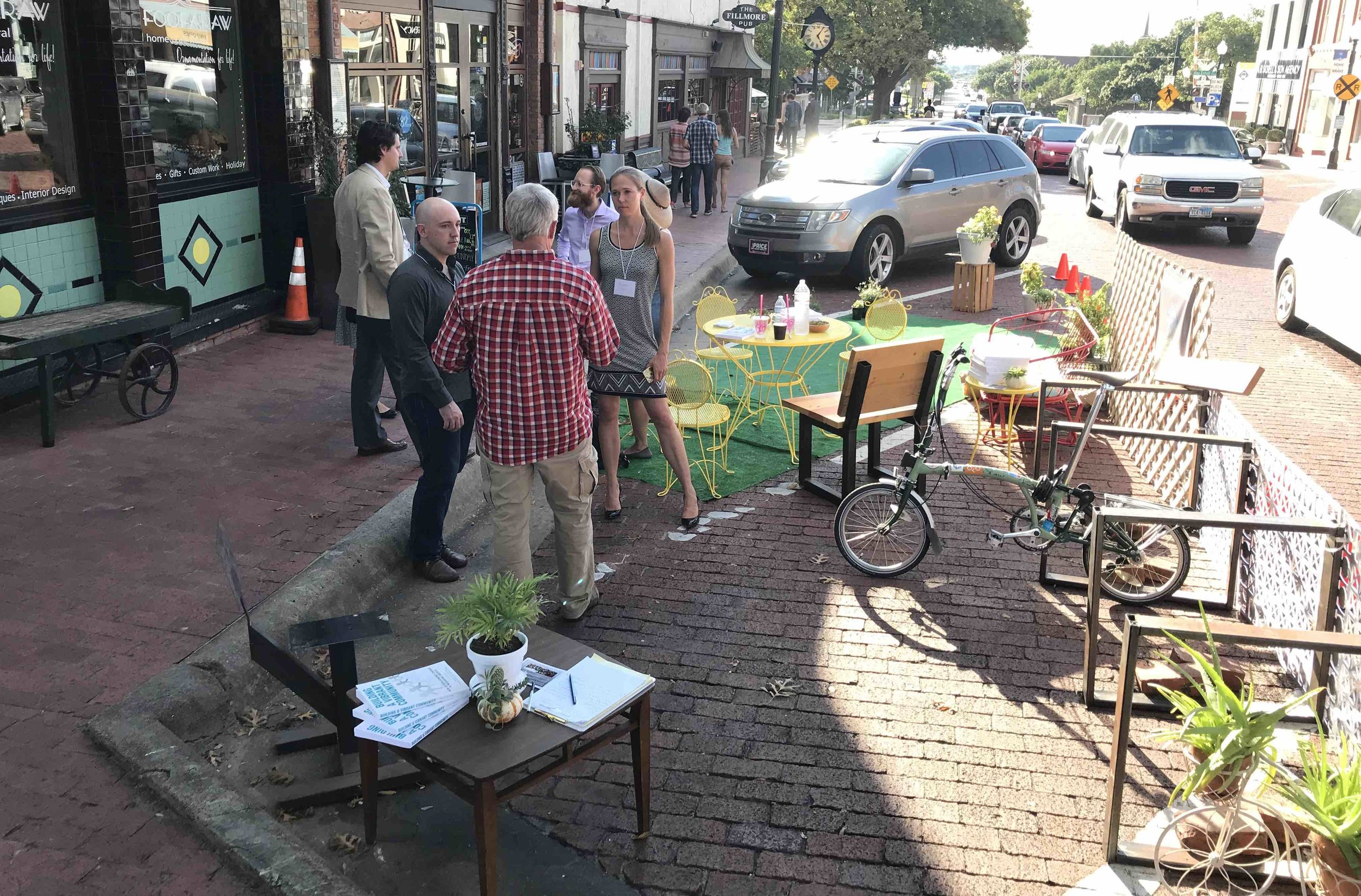This pop-up parklet took our message to the streets! Photo courtesy of John Simmerman